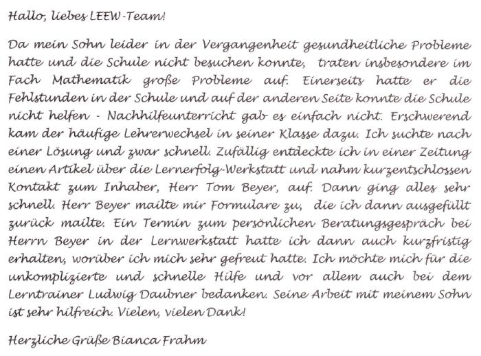 Feedback Frau Frahm