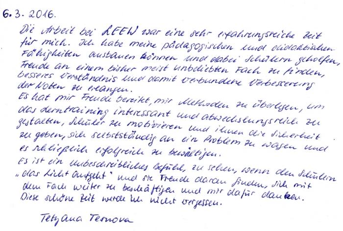 Feedback Lerntrainerin Tetyana Ternova