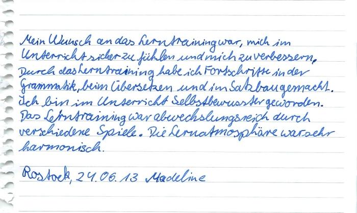Feedback Madeline