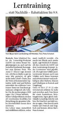 Rostocker Blitz: Lerntraining statt Nachhilfe